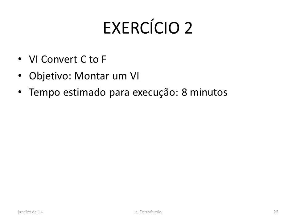 EXERCÍCIO 2 VI Convert C to F Objetivo: Montar um VI Tempo estimado para execução: 8 minutos janeiro de 1425 A. Introdução
