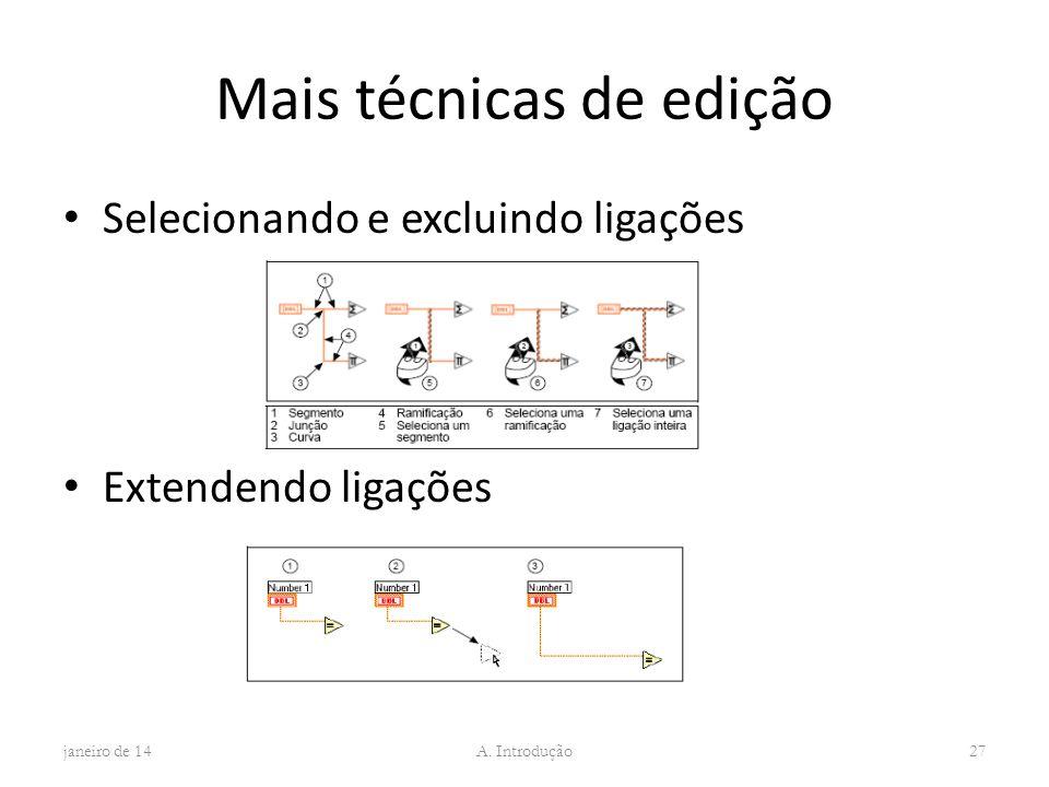 Mais técnicas de edição Selecionando e excluindo ligações Extendendo ligações janeiro de 14 A. Introdução 27