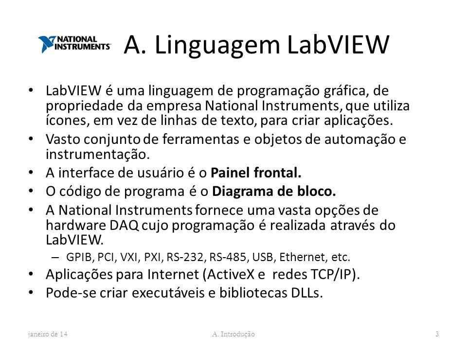 A. Linguagem LabVIEW LabVIEW é uma linguagem de programação gráfica, de propriedade da empresa National Instruments, que utiliza ícones, em vez de lin