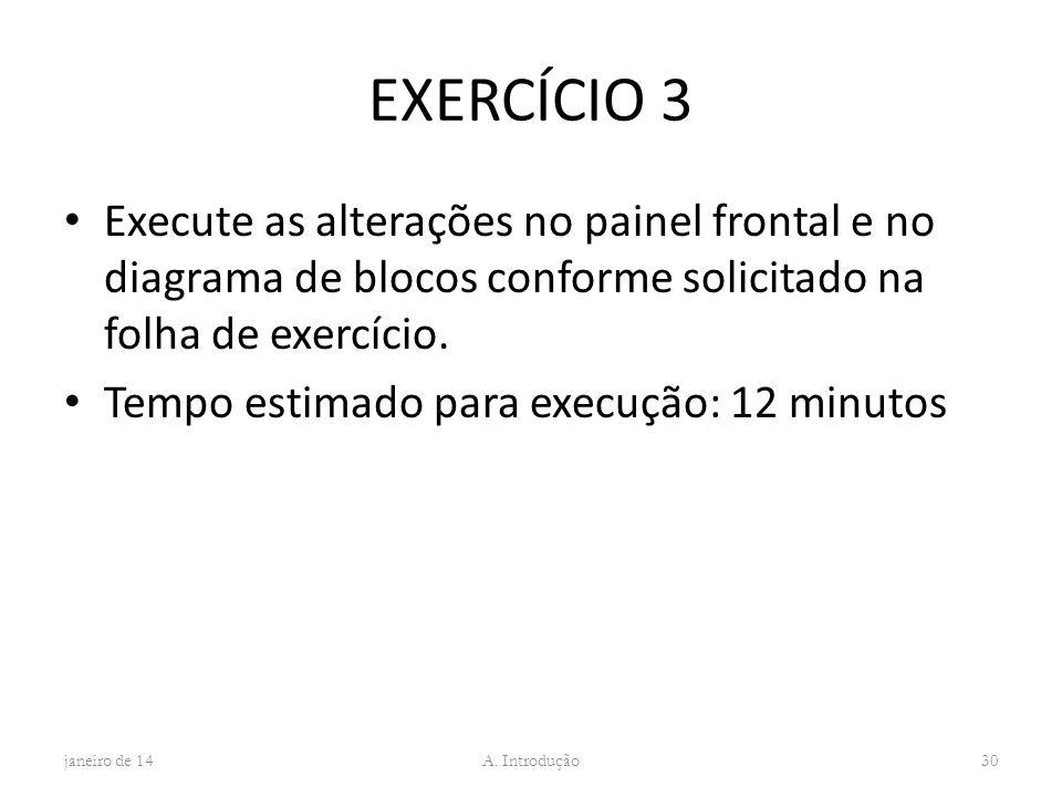 EXERCÍCIO 3 Execute as alterações no painel frontal e no diagrama de blocos conforme solicitado na folha de exercício. Tempo estimado para execução: 1
