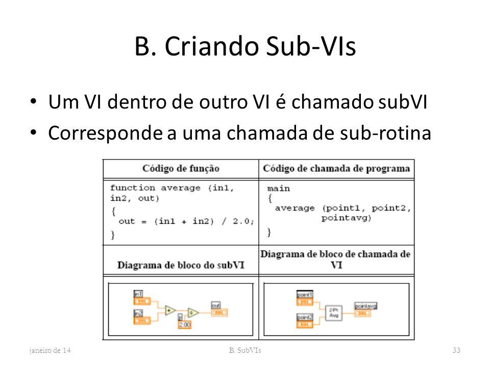 B. Criando Sub-VIs Um VI dentro de outro VI é chamado subVI Corresponde a uma chamada de sub-rotina janeiro de 14B. SubVIs33