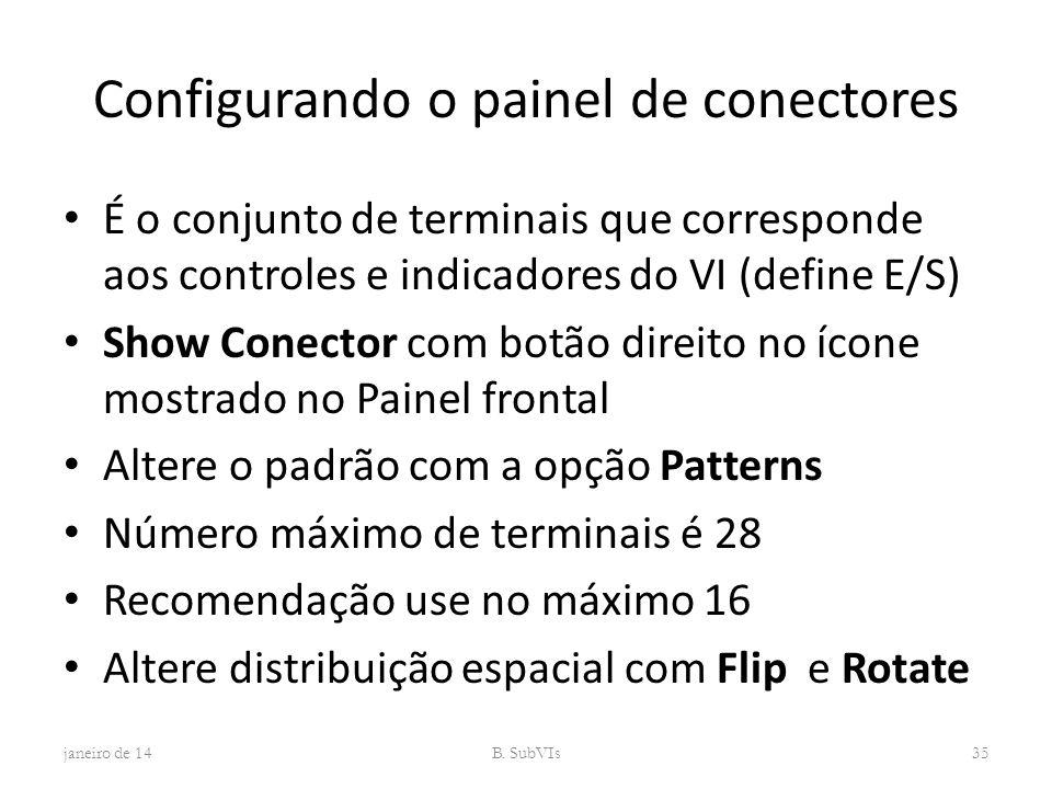 Configurando o painel de conectores É o conjunto de terminais que corresponde aos controles e indicadores do VI (define E/S) Show Conector com botão d
