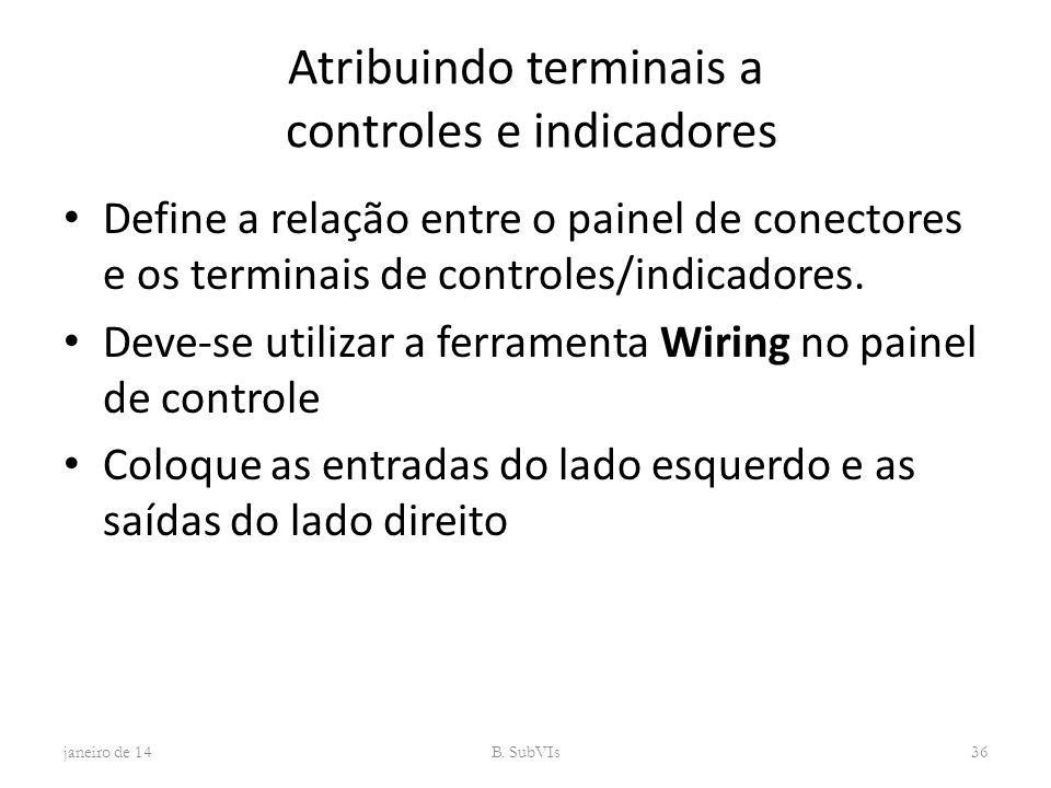 Atribuindo terminais a controles e indicadores Define a relação entre o painel de conectores e os terminais de controles/indicadores. Deve-se utilizar
