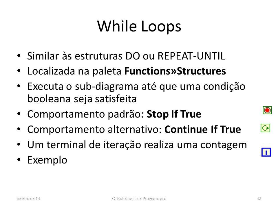 While Loops Similar às estruturas DO ou REPEAT-UNTIL Localizada na paleta Functions»Structures Executa o sub-diagrama até que uma condição booleana se
