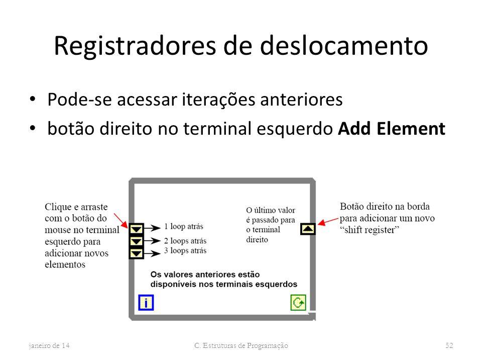 Registradores de deslocamento Pode-se acessar iterações anteriores botão direito no terminal esquerdo Add Element janeiro de 14 C. Estruturas de Progr