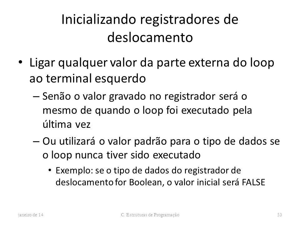 Inicializando registradores de deslocamento Ligar qualquer valor da parte externa do loop ao terminal esquerdo – Senão o valor gravado no registrador