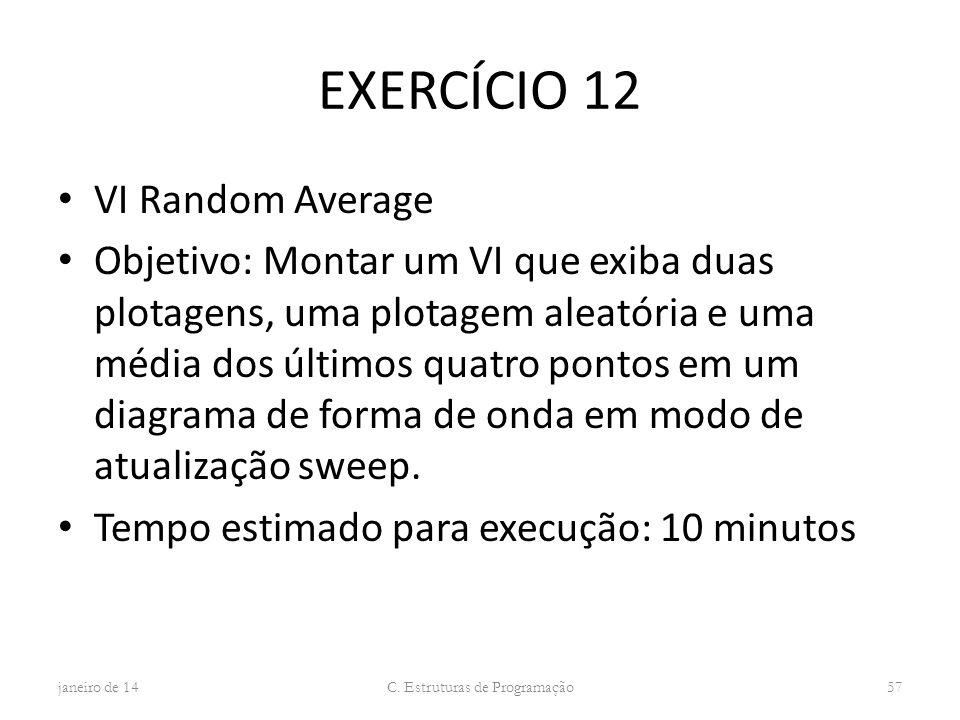 EXERCÍCIO 12 VI Random Average Objetivo: Montar um VI que exiba duas plotagens, uma plotagem aleatória e uma média dos últimos quatro pontos em um dia