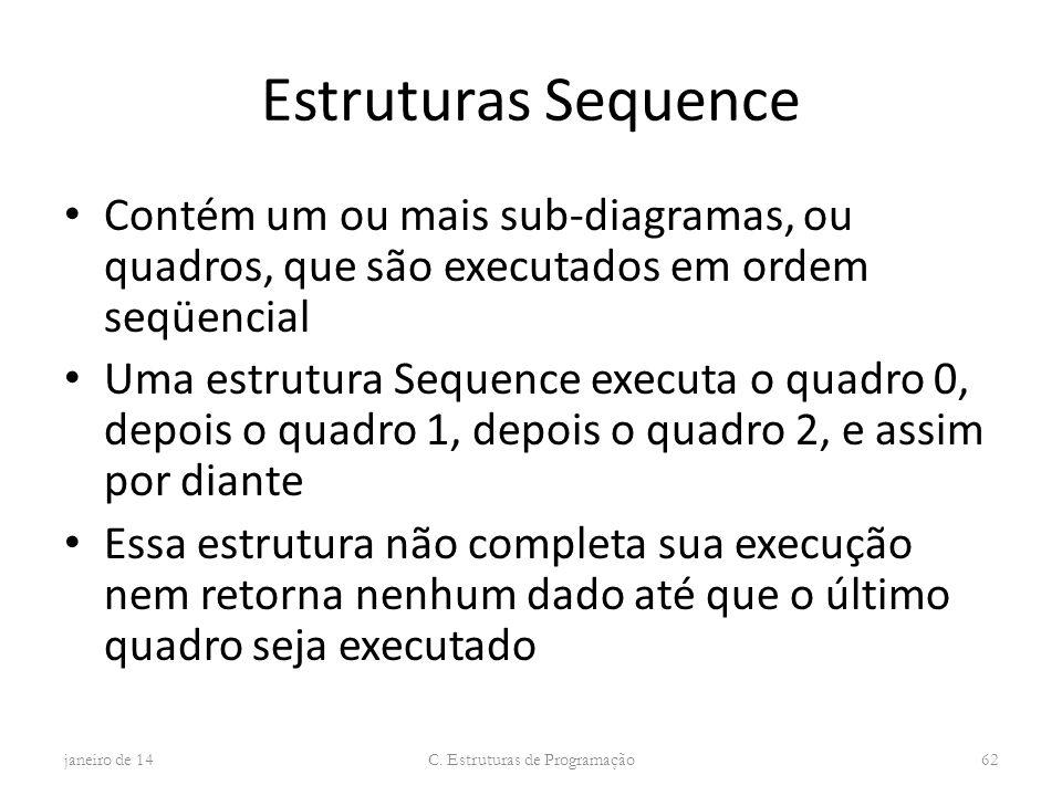 Estruturas Sequence Contém um ou mais sub-diagramas, ou quadros, que são executados em ordem seqüencial Uma estrutura Sequence executa o quadro 0, dep
