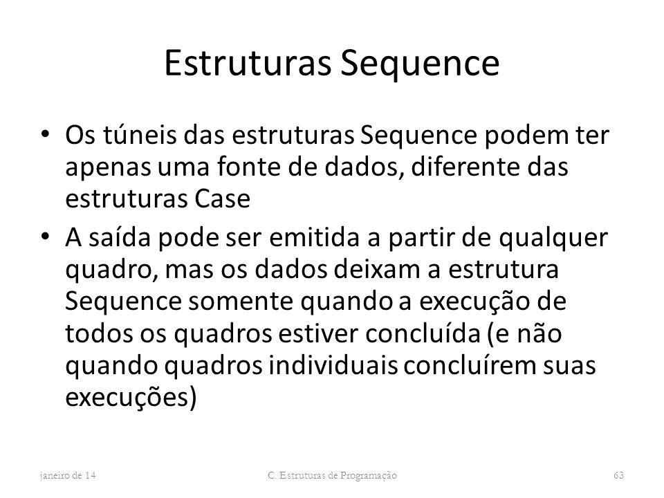 Estruturas Sequence Os túneis das estruturas Sequence podem ter apenas uma fonte de dados, diferente das estruturas Case A saída pode ser emitida a pa