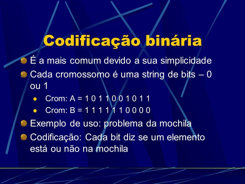 Codificação binária É a mais comum devido a sua simplicidade Cada cromossomo é uma string de bits – 0 ou 1 Crom: A = 1 0 1 1 0 0 1 0 1 1 Crom: B = 1 1 1 1 1 1 0 0 0 0 Exemplo de uso: problema da mochila Codificação: Cada bit diz se um elemento está ou não na mochila