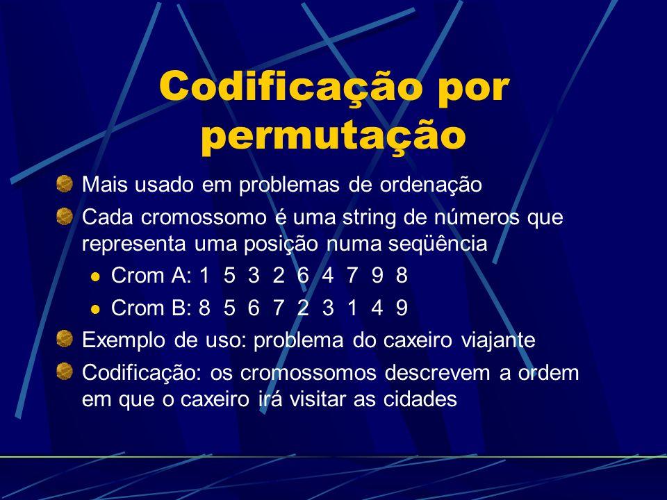 Codificação por permutação Mais usado em problemas de ordenação Cada cromossomo é uma string de números que representa uma posição numa seqüência Crom A: 1 5 3 2 6 4 7 9 8 Crom B: 8 5 6 7 2 3 1 4 9 Exemplo de uso: problema do caxeiro viajante Codificação: os cromossomos descrevem a ordem em que o caxeiro irá visitar as cidades
