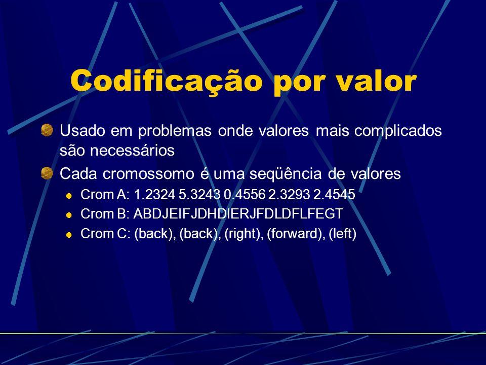 Codificação por valor Usado em problemas onde valores mais complicados são necessários Cada cromossomo é uma seqüência de valores Crom A: 1.2324 5.3243 0.4556 2.3293 2.4545 Crom B: ABDJEIFJDHDIERJFDLDFLFEGT Crom C: (back), (back), (right), (forward), (left)