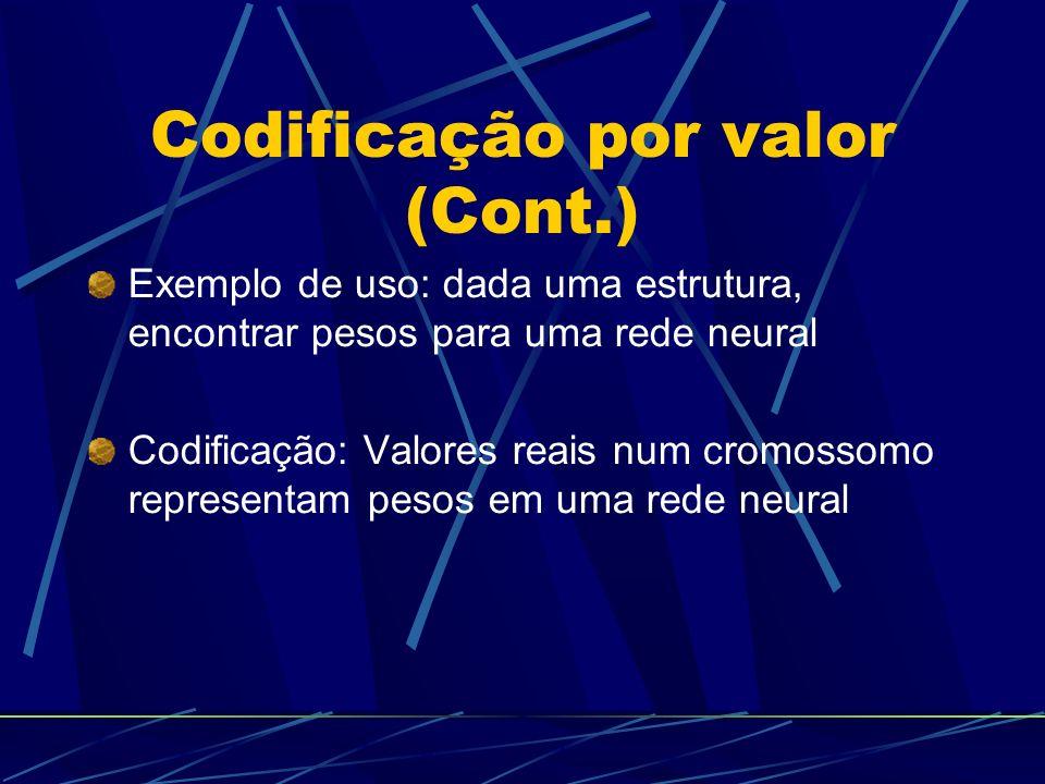 Codificação por valor (Cont.) Exemplo de uso: dada uma estrutura, encontrar pesos para uma rede neural Codificação: Valores reais num cromossomo representam pesos em uma rede neural
