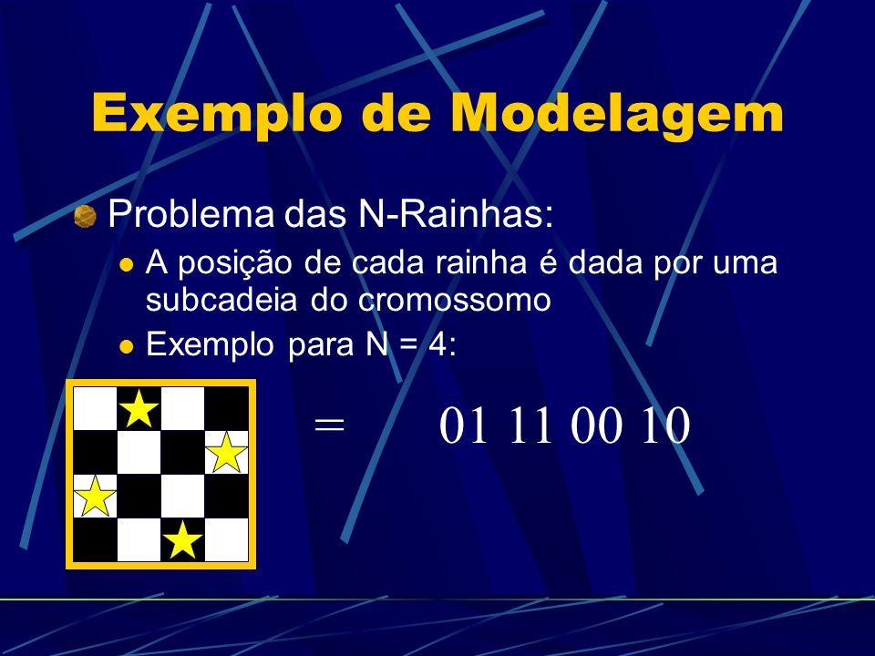 Exemplo de Modelagem Problema das N-Rainhas: A posição de cada rainha é dada por uma subcadeia do cromossomo Exemplo para N = 4: = 01 11 00 10