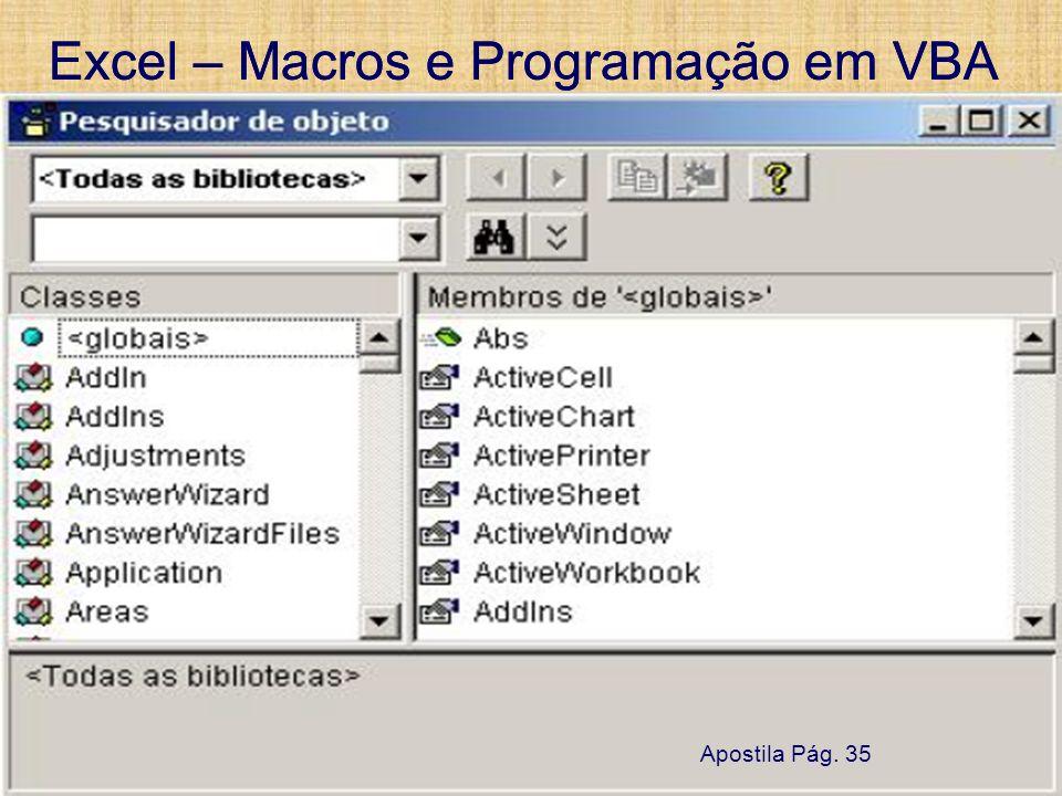 Excel – Macros e Programação em VBA 13 de setembro de 2007Pág. 55 Excel – Macros e Programação em VBA 13 de setembro de 2007Pág. 55 UTFPR – Damat 8. N