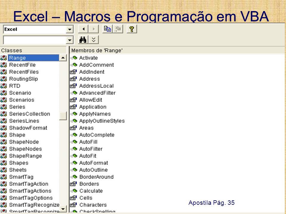 Excel – Macros e Programação em VBA 13 de setembro de 2007Pág. 57 Excel – Macros e Programação em VBA 13 de setembro de 2007Pág. 57 UTFPR – Damat Apos