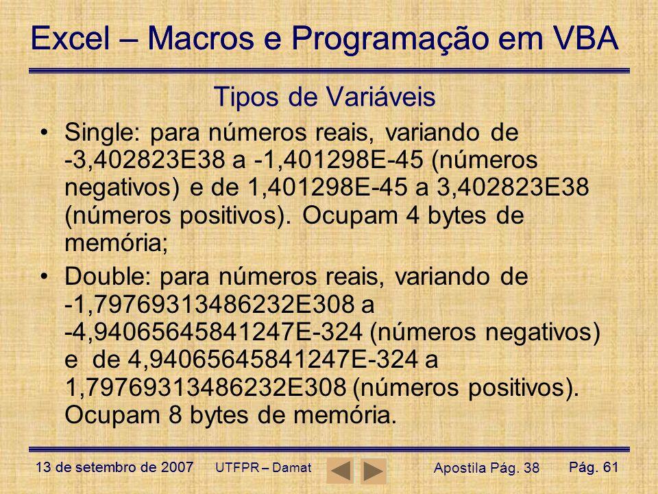 Excel – Macros e Programação em VBA 13 de setembro de 2007Pág. 61 Excel – Macros e Programação em VBA 13 de setembro de 2007Pág. 61 UTFPR – Damat Tipo