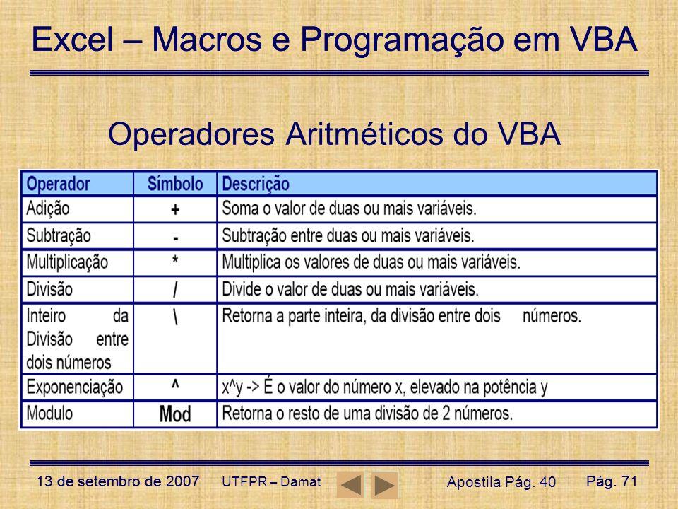 Excel – Macros e Programação em VBA 13 de setembro de 2007Pág. 71 Excel – Macros e Programação em VBA 13 de setembro de 2007Pág. 71 UTFPR – Damat Oper