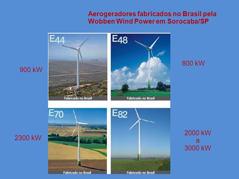 Aerogeradores fabricados no Brasil pela Wobben Wind Power em Sorocaba/SP 900 kW 800 kW 2300 kW 2000 kW a 3000 kW