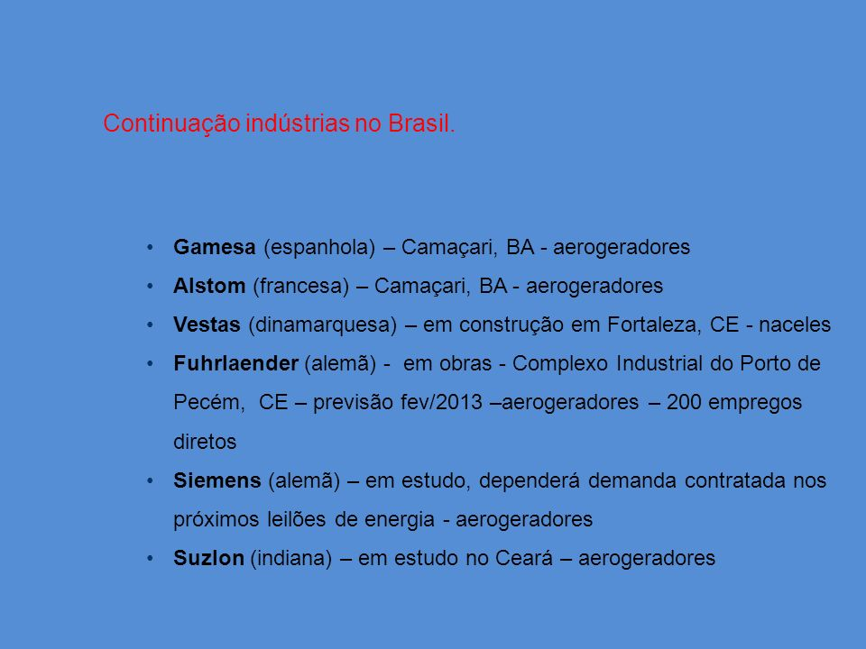 Continuação indústrias no Brasil.