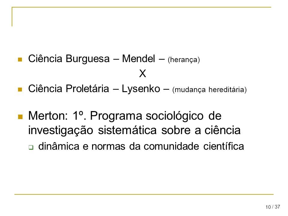 / 37 10 Ciência Burguesa – Mendel – (herança) X Ciência Proletária – Lysenko – (mudança hereditária) Merton: 1º.