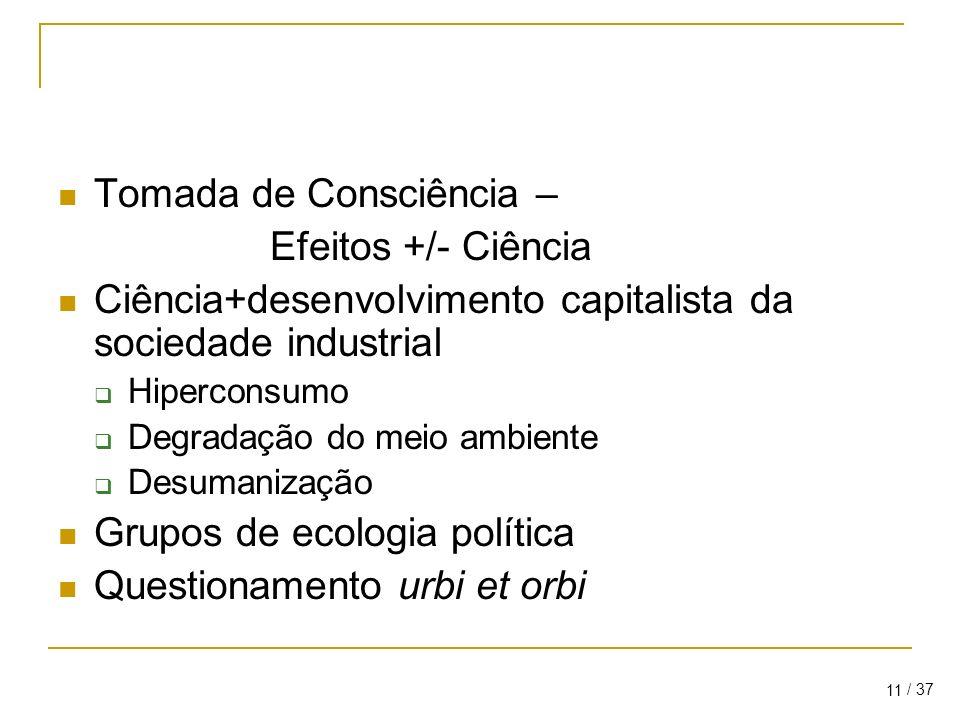 / 37 11 Tomada de Consciência – Efeitos +/- Ciência Ciência+desenvolvimento capitalista da sociedade industrial Hiperconsumo Degradação do meio ambiente Desumanização Grupos de ecologia política Questionamento urbi et orbi
