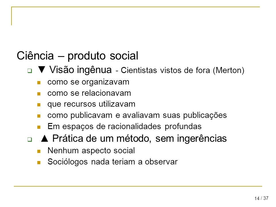 / 37 14 Ciência – produto social Visão ingênua - Cientistas vistos de fora (Merton) como se organizavam como se relacionavam que recursos utilizavam como publicavam e avaliavam suas publicações Em espaços de racionalidades profundas Prática de um método, sem ingerências Nenhum aspecto social Sociólogos nada teriam a observar