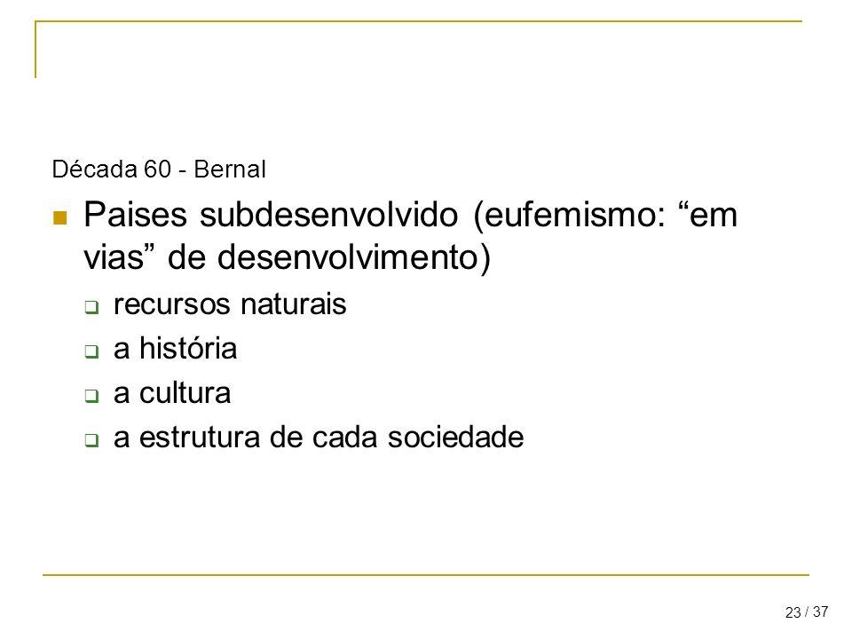 / 37 23 Década 60 - Bernal Paises subdesenvolvido (eufemismo: em vias de desenvolvimento) recursos naturais a história a cultura a estrutura de cada sociedade