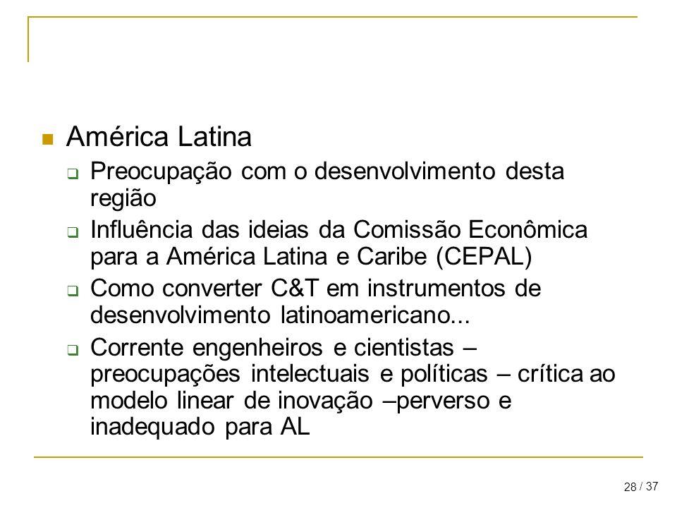 / 37 28 América Latina Preocupação com o desenvolvimento desta região Influência das ideias da Comissão Econômica para a América Latina e Caribe (CEPAL) Como converter C&T em instrumentos de desenvolvimento latinoamericano...