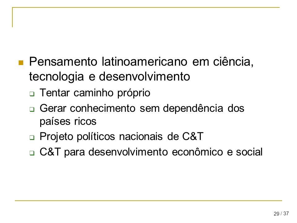 / 37 29 Pensamento latinoamericano em ciência, tecnologia e desenvolvimento Tentar caminho próprio Gerar conhecimento sem dependência dos países ricos Projeto políticos nacionais de C&T C&T para desenvolvimento econômico e social