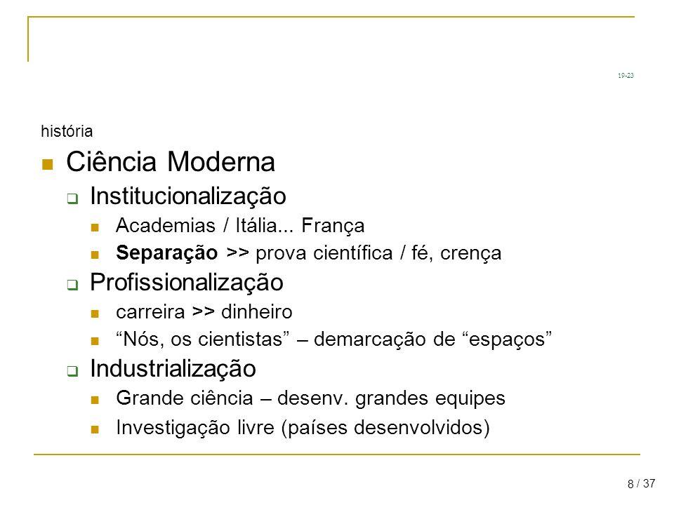 / 37 8 19-23 história Ciência Moderna Institucionalização Academias / Itália...