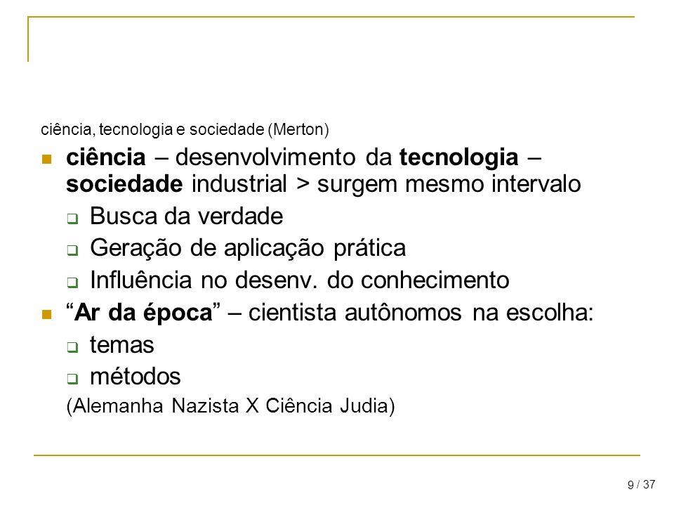 / 37 9 ciência, tecnologia e sociedade (Merton) ciência – desenvolvimento da tecnologia – sociedade industrial > surgem mesmo intervalo Busca da verdade Geração de aplicação prática Influência no desenv.