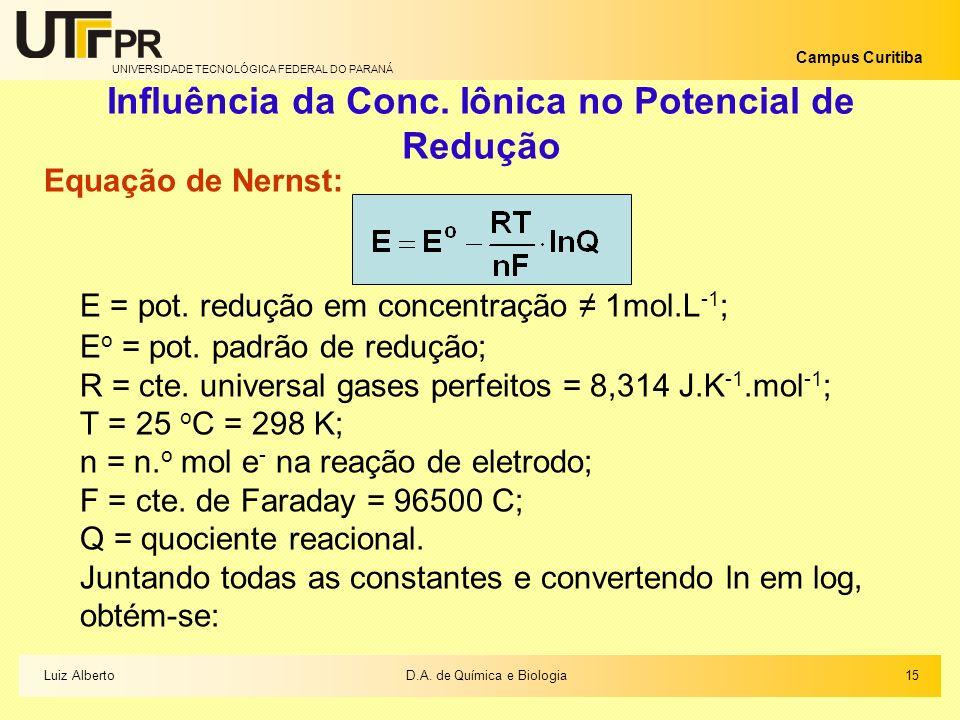 UNIVERSIDADE TECNOLÓGICA FEDERAL DO PARANÁ Campus Curitiba Influência da Conc. Iônica no Potencial de Redução Equação de Nernst: E = pot. redução em c