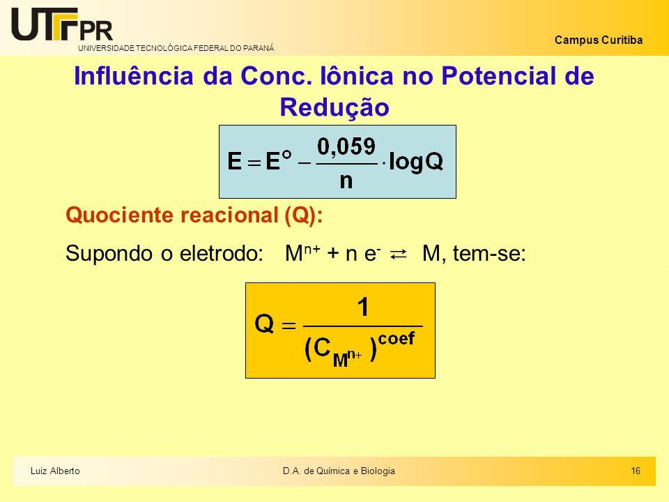 UNIVERSIDADE TECNOLÓGICA FEDERAL DO PARANÁ Campus Curitiba Influência da Conc. Iônica no Potencial de Redução Quociente reacional (Q): Supondo o eletr