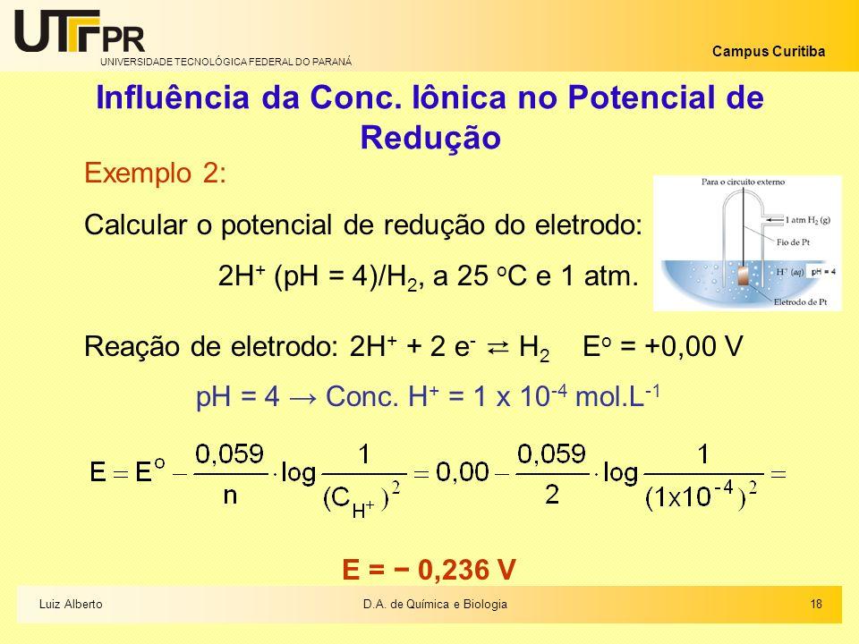 UNIVERSIDADE TECNOLÓGICA FEDERAL DO PARANÁ Campus Curitiba Influência da Conc. Iônica no Potencial de Redução Exemplo 2: Calcular o potencial de reduç