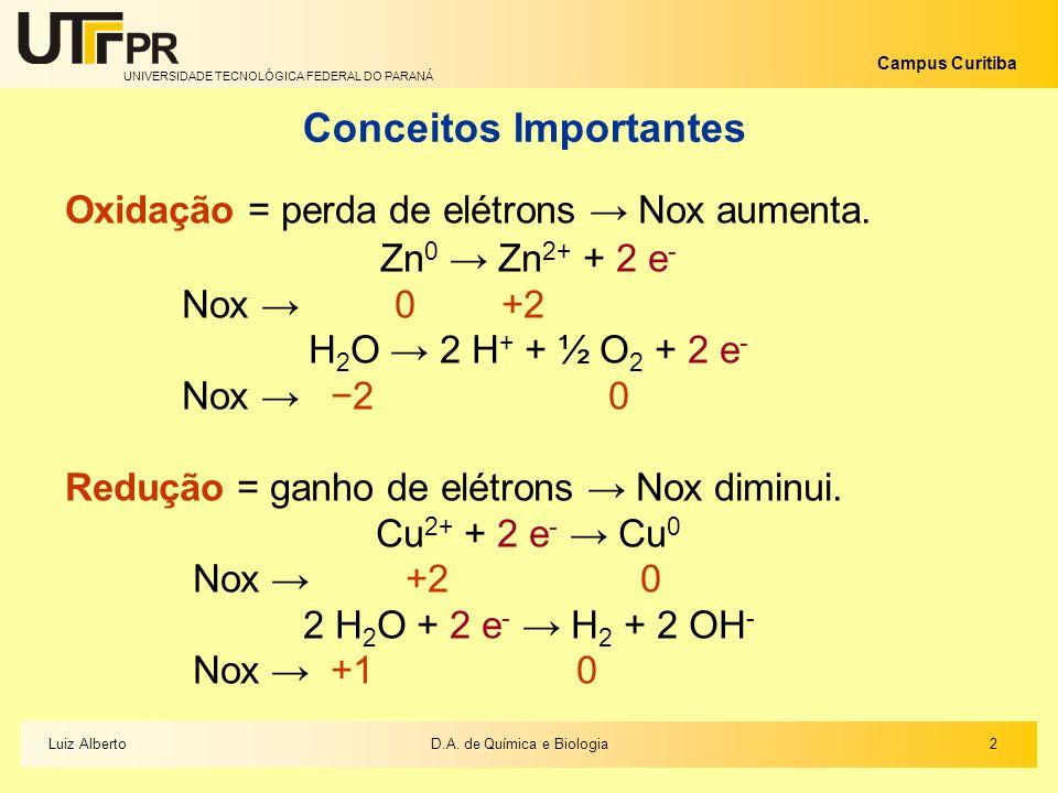 UNIVERSIDADE TECNOLÓGICA FEDERAL DO PARANÁ Campus Curitiba 2 2D.A. de Química e BiologiaLuiz Alberto Conceitos Importantes Oxidação = perda de elétron