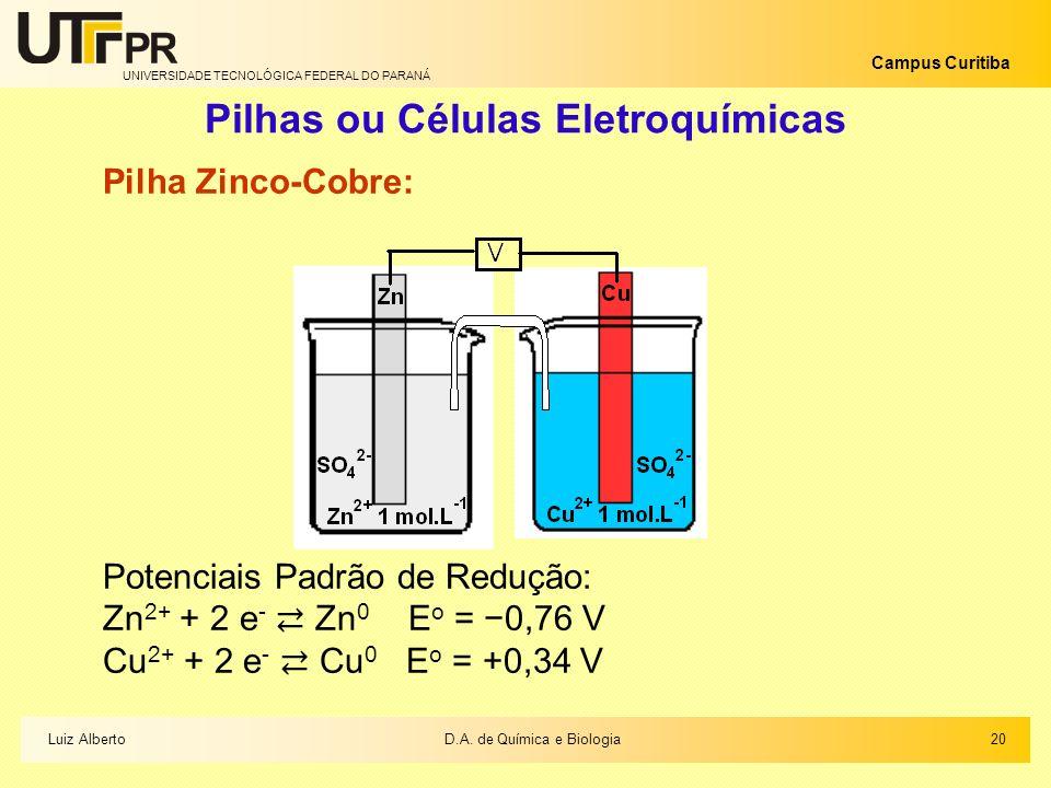 UNIVERSIDADE TECNOLÓGICA FEDERAL DO PARANÁ Campus Curitiba Pilhas ou Células Eletroquímicas Pilha Zinco-Cobre: Potenciais Padrão de Redução: Zn 2+ + 2