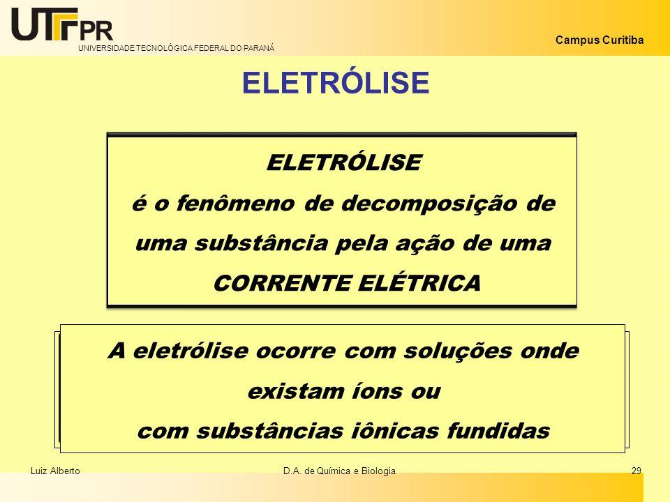 UNIVERSIDADE TECNOLÓGICA FEDERAL DO PARANÁ Campus Curitiba ELETRÓLISE é o fenômeno de decomposição de uma substância pela ação de uma CORRENTE ELÉTRIC