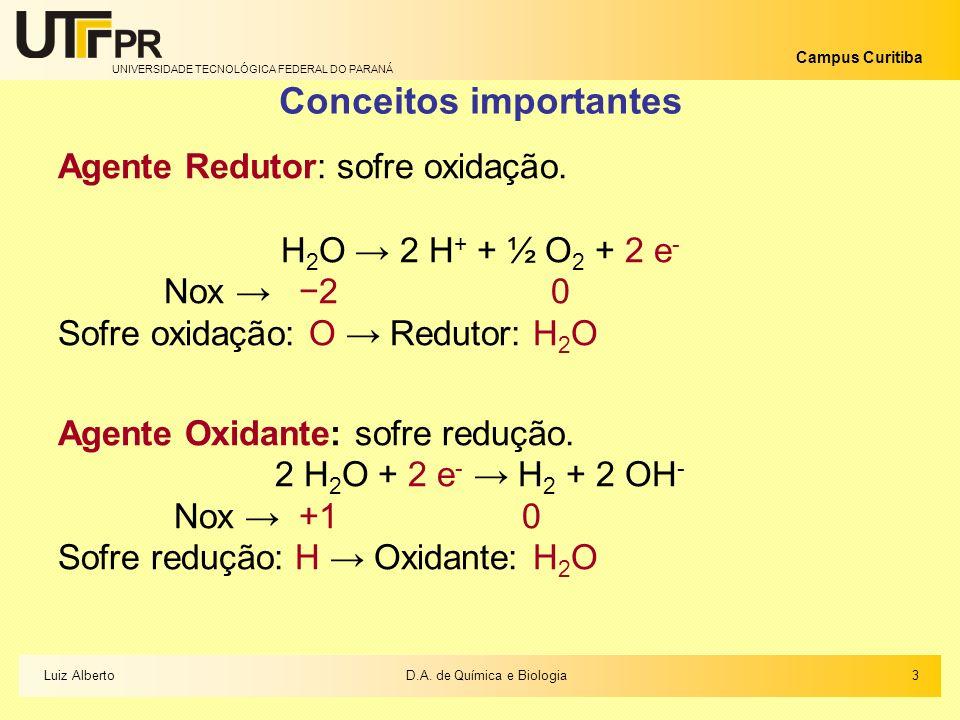 UNIVERSIDADE TECNOLÓGICA FEDERAL DO PARANÁ Campus Curitiba Conceitos importantes Agente Redutor: sofre oxidação. H 2 O 2 H + + ½ O 2 + 2 e - Nox 2 0 S