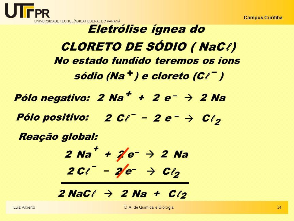 UNIVERSIDADE TECNOLÓGICA FEDERAL DO PARANÁ Campus Curitiba 34Luiz AlbertoD.A. de Química e Biologia Eletrólise ígnea do CLORETO DE SÓDIO ( NaC) No est
