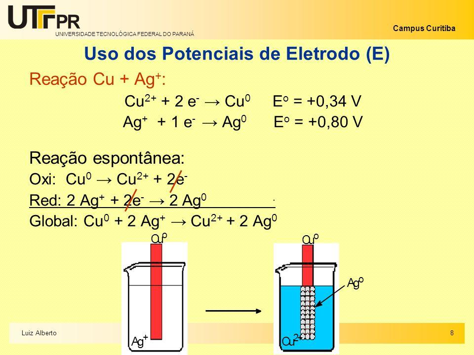 UNIVERSIDADE TECNOLÓGICA FEDERAL DO PARANÁ Campus Curitiba Uso dos Potenciais de Eletrodo (E) Reação Cu + Ag + : Cu 2+ + 2 e - Cu 0 E o = +0,34 V Ag +