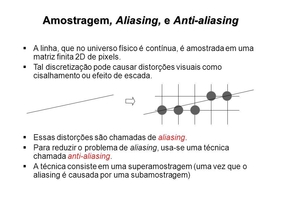 Amostragem, Aliasing, e Anti-aliasing A linha, que no universo físico é contínua, é amostrada em uma matriz finita 2D de pixels. Tal discretização pod