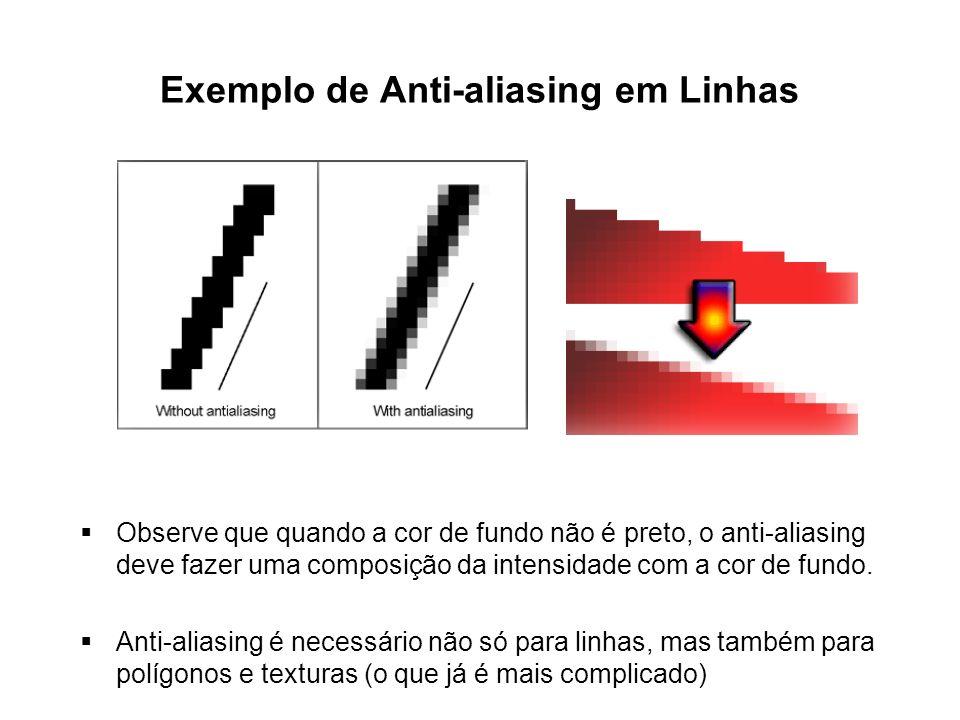 Exemplo de Anti-aliasing em Linhas Observe que quando a cor de fundo não é preto, o anti-aliasing deve fazer uma composição da intensidade com a cor d