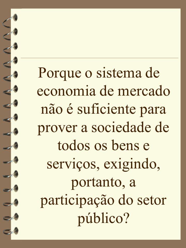 Porque o sistema de economia de mercado não é suficiente para prover a sociedade de todos os bens e serviços, exigindo, portanto, a participação do se