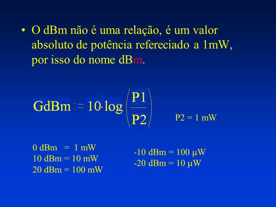 O dBm não é uma relação, é um valor absoluto de potência refereciado a 1mW, por isso do nome dBm. P2 = 1 mW 0 dBm = 1 mW 10 dBm = 10 mW 20 dBm = 100 m