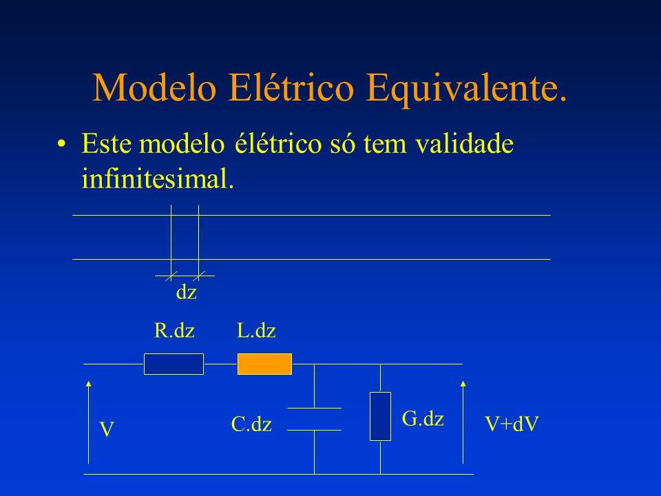 Modelo Elétrico Equivalente. Este modelo élétrico só tem validade infinitesimal. dz R.dzL.dz C.dz G.dz V V+dV