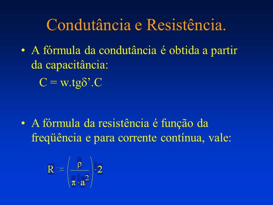 Condutância e Resistência. A fórmula da condutância é obtida a partir da capacitância: C = w.tg.C A fórmula da resistência é função da freqüência e pa
