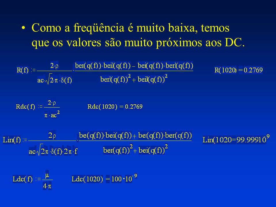 Como a freqüência é muito baixa, temos que os valores são muito próximos aos DC.