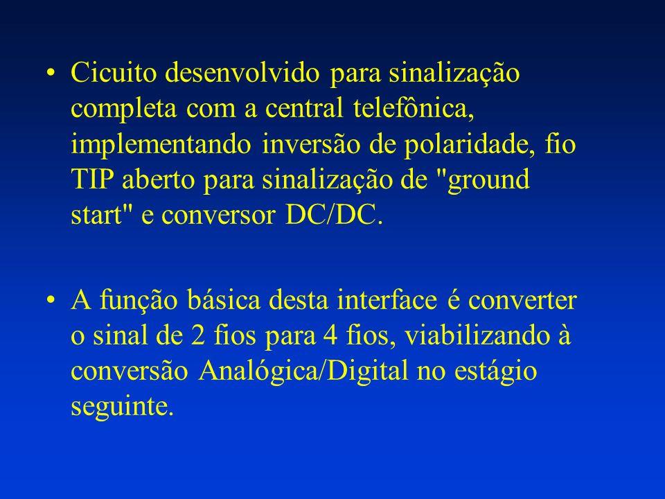Cicuito desenvolvido para sinalização completa com a central telefônica, implementando inversão de polaridade, fio TIP aberto para sinalização de