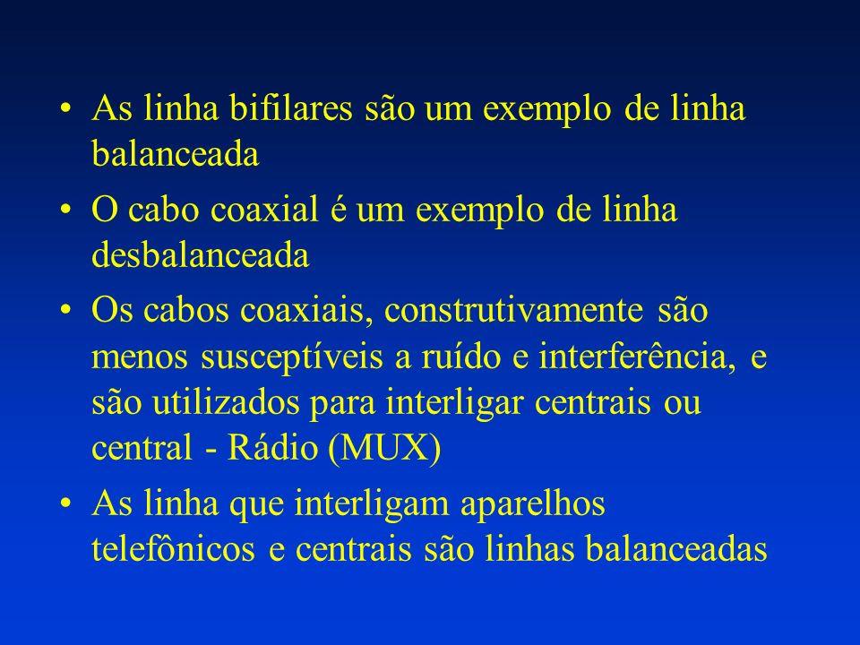 As linha bifilares são um exemplo de linha balanceada O cabo coaxial é um exemplo de linha desbalanceada Os cabos coaxiais, construtivamente são menos